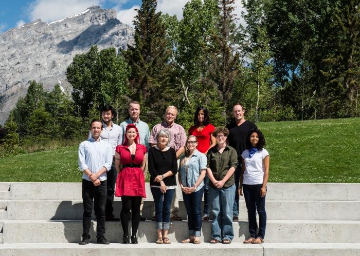 The writers (w) and faculty (f) of the 2014 Literary Journalism Program at The Banff Centre. (Top Row, L-to-R: Matt Aiken (w), Victor Dwyer (f), Ian Brown (f), Charlotte Gill (f), Peter Worden (w). Bottom Row, L-to-R: John Emrys Eller (w), Sierra Skye Gemma (w), Eve Joseph (w), Kelsey Kudak (w), Amanda Waldroupe (w), Dakshana Bascaramurty (w).