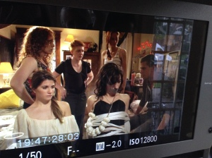 A behind the scenes pic from one of the monitors when they Carmilla cast members were on set!